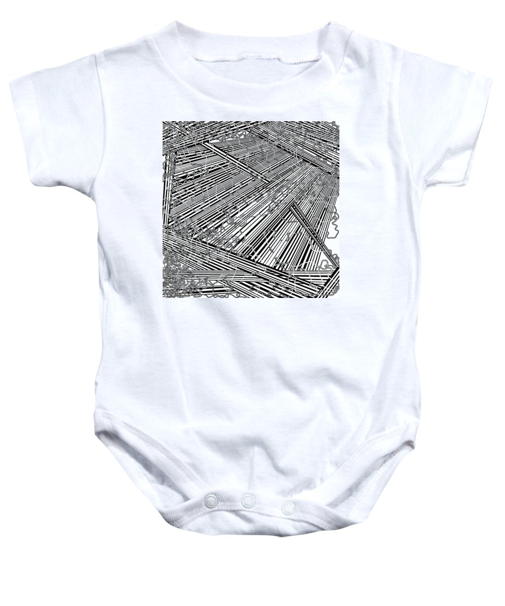 Meditation Labyrinth Baby Onesie featuring the painting One 20 by Douglas Christian Larsen