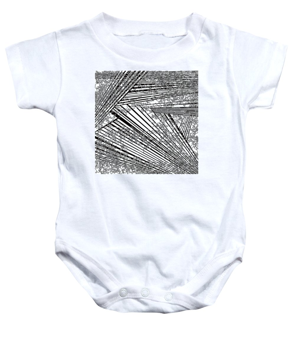 Meditation Labyrinth Baby Onesie featuring the painting One 21 by Douglas Christian Larsen