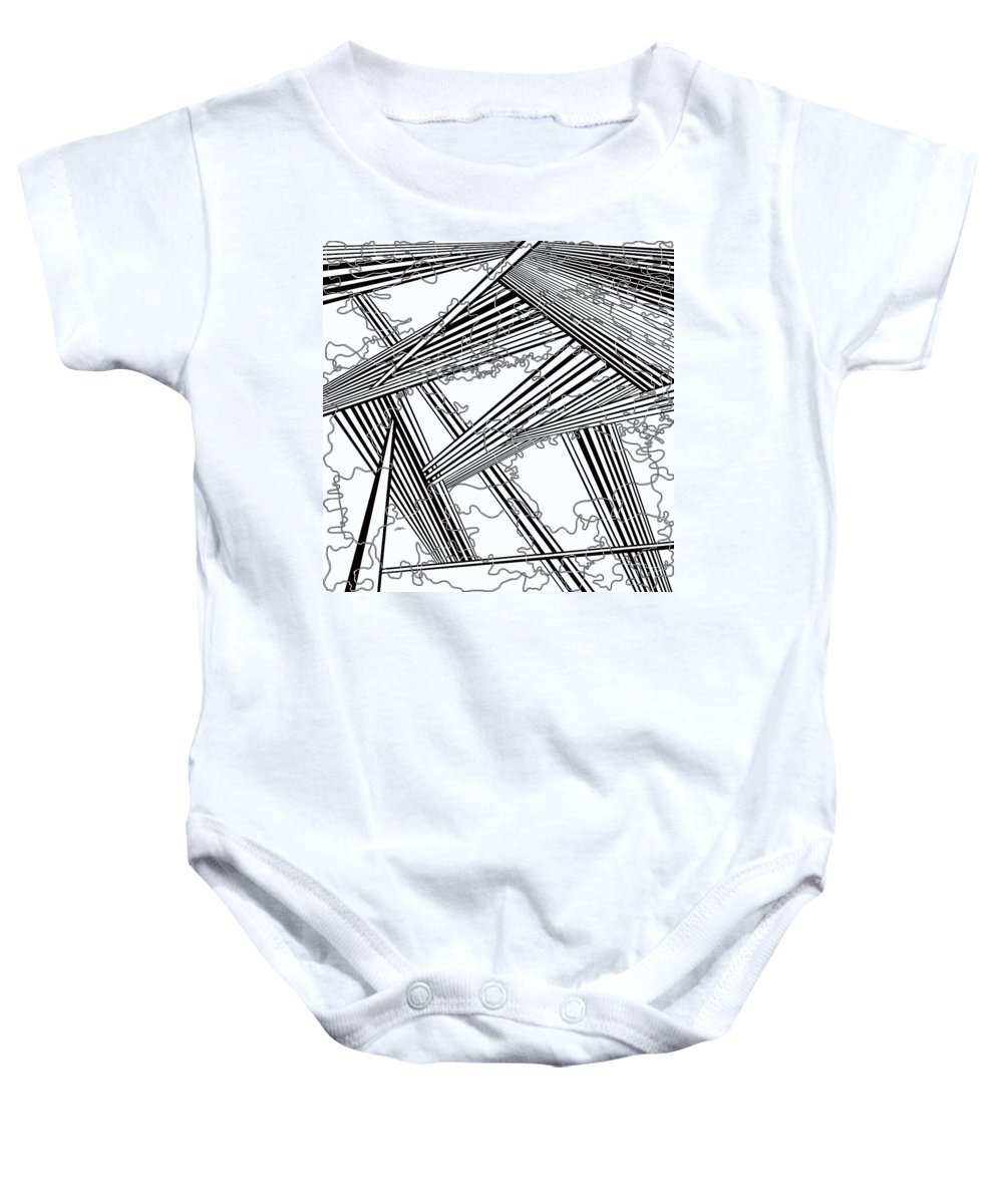 Black And White Baby Onesie featuring the painting One 24 by Douglas Christian Larsen