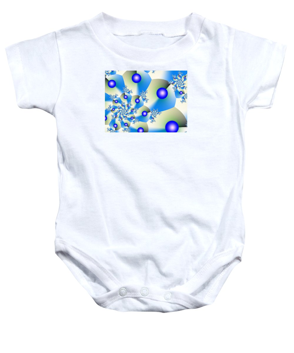 Blue Baby Onesie featuring the digital art Orbit In Blue by Jim Bryson