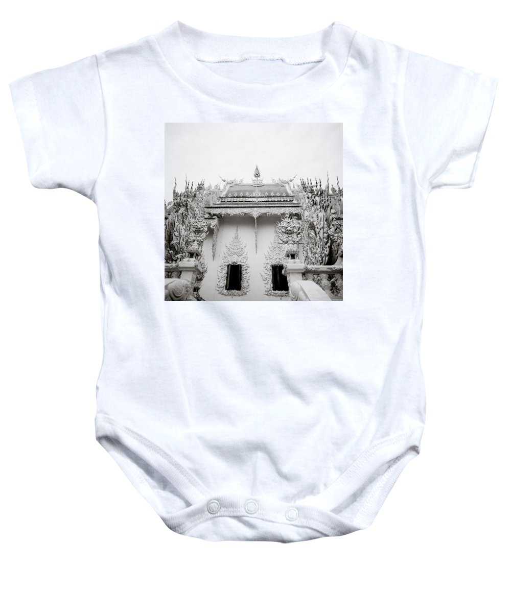 B&w Baby Onesie featuring the photograph Ornate Architecture by Shaun Higson