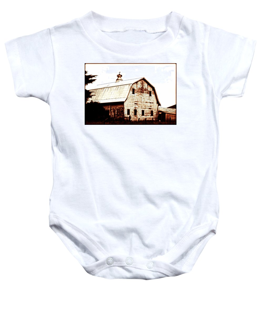 Barn Baby Onesie featuring the digital art Out West by Kathy Sampson