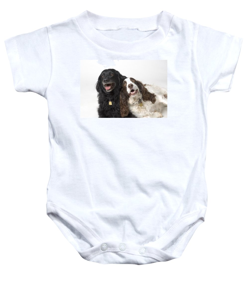 Animal Baby Onesie featuring the photograph Pair Of Canine Friends by Corey Hochachka