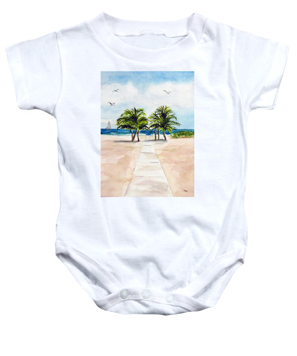 Palm Trees Baby Onesie featuring the painting Palm Trees by Clara Sue Beym