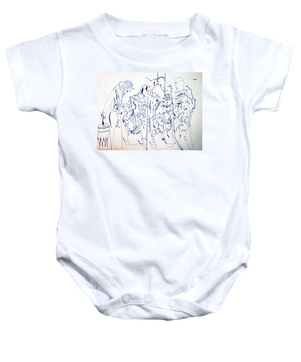 Jesus Baby Onesie featuring the painting Parable Of The Ten Virgins by Gloria Ssali