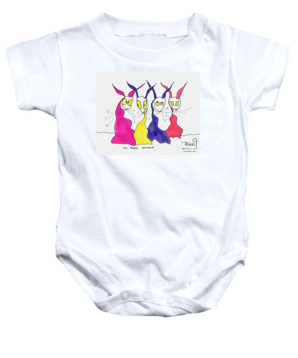 Party Baby Onesie featuring the painting Party Animals by Tis Art