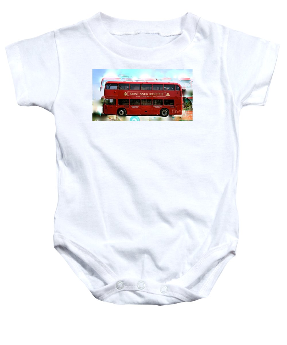 Double Deck Bus Baby Onesie featuring the photograph Party Bus by Susan Herber