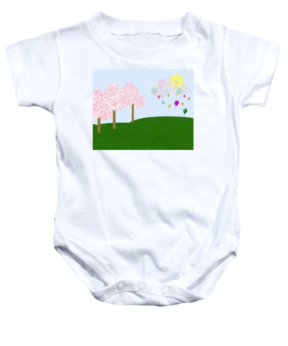 Cherry Trees Baby Onesie featuring the digital art Party Over The Hill by Heidi Smith