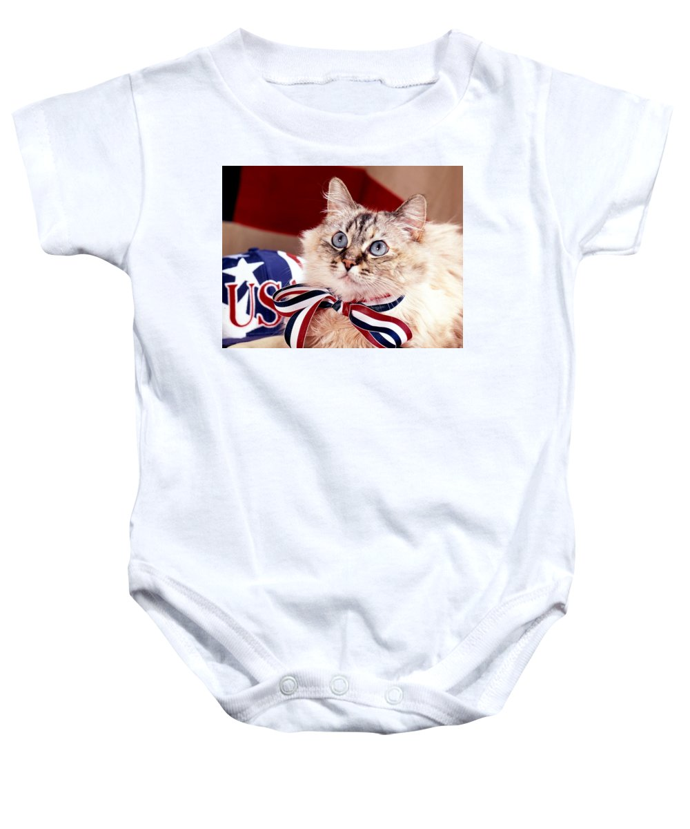 Mixed Breed Cat Baby Onesie featuring the photograph Patriotic Puddy Cat by Larry Allan