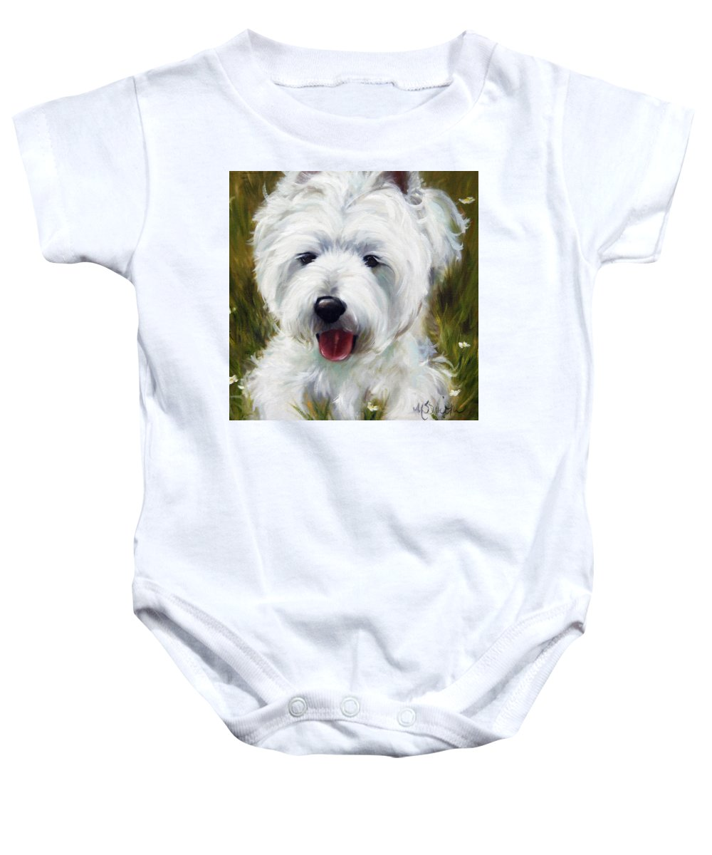 Art Baby Onesie featuring the painting Patton by Mary Sparrow