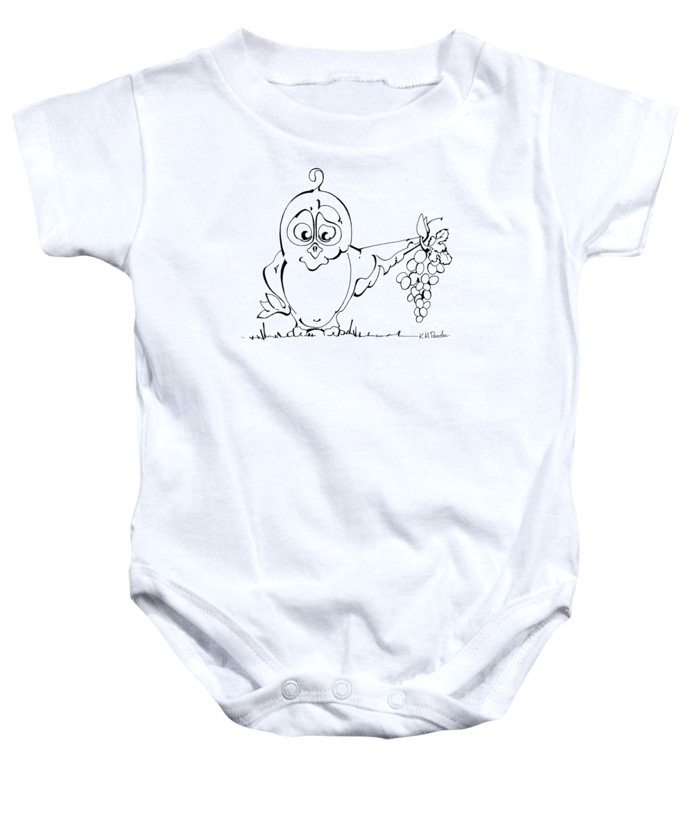 Owl Baby Onesie featuring the drawing Peace Offering by K M Pawelec