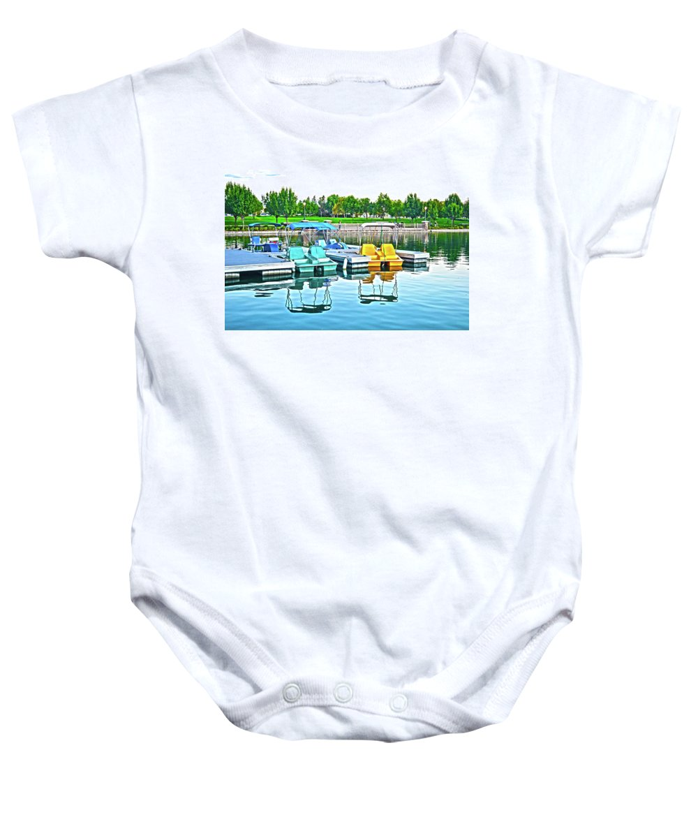 Pedal Boats Baby Onesie featuring the photograph Pedal Boats by Christine Owens