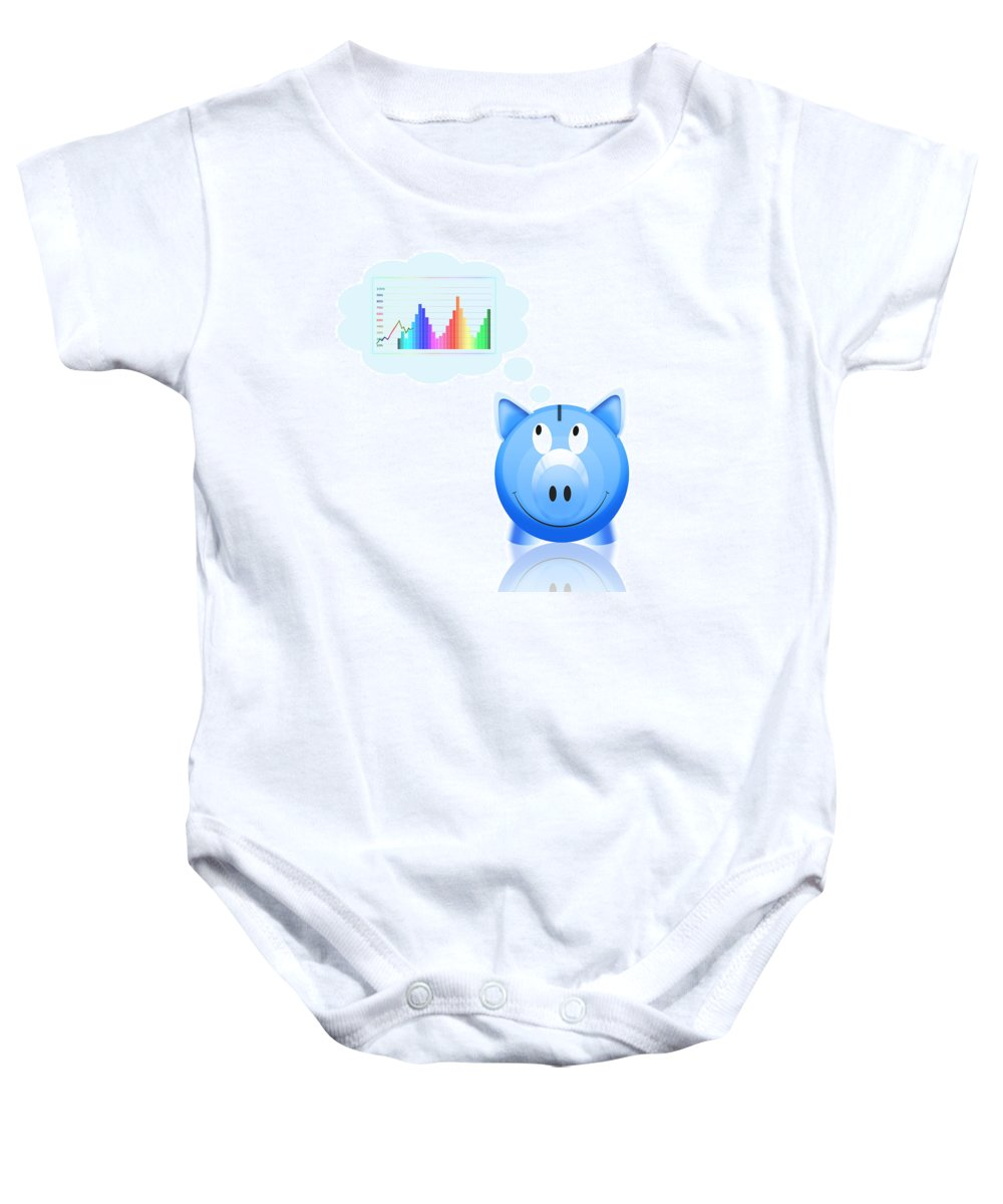 Accumulation Baby Onesie featuring the photograph Piggy Bank With Graph by Setsiri Silapasuwanchai