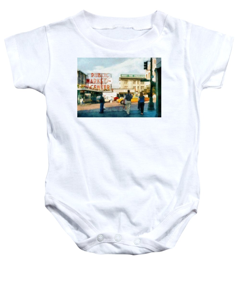 Sale Baby Onesie featuring the photograph Pike Place Market by Michelle Calkins