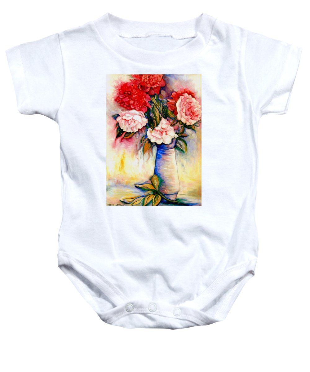 The Colors Of Quebec Baby Onesie featuring the painting Pink And Red Peony Roses In A Tall Blue Porcelain Vase by Carole Spandau