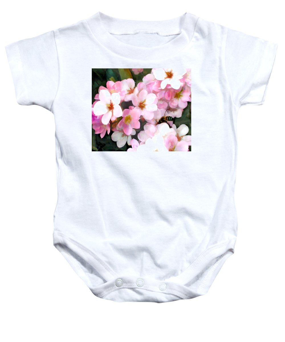 Flower Flowers Garden Bee Bees Yellow+jacket Pink Flora Floral Nature Natural Baby Onesie featuring the painting Pink Flowers With Bee by Elaine Plesser
