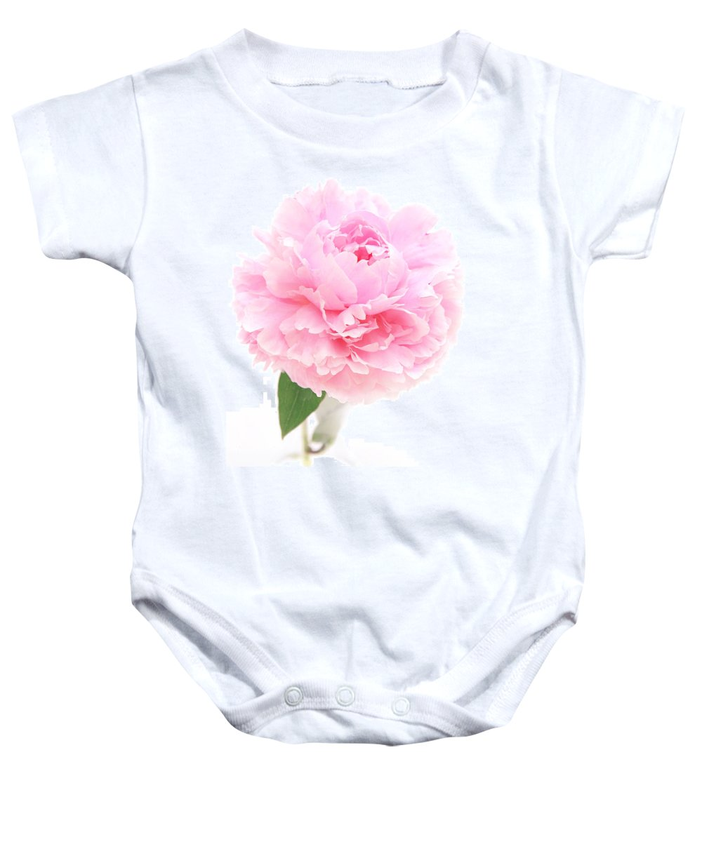 Pink Baby Onesie featuring the photograph Pink Peony In Glass Vase by Susan Wall