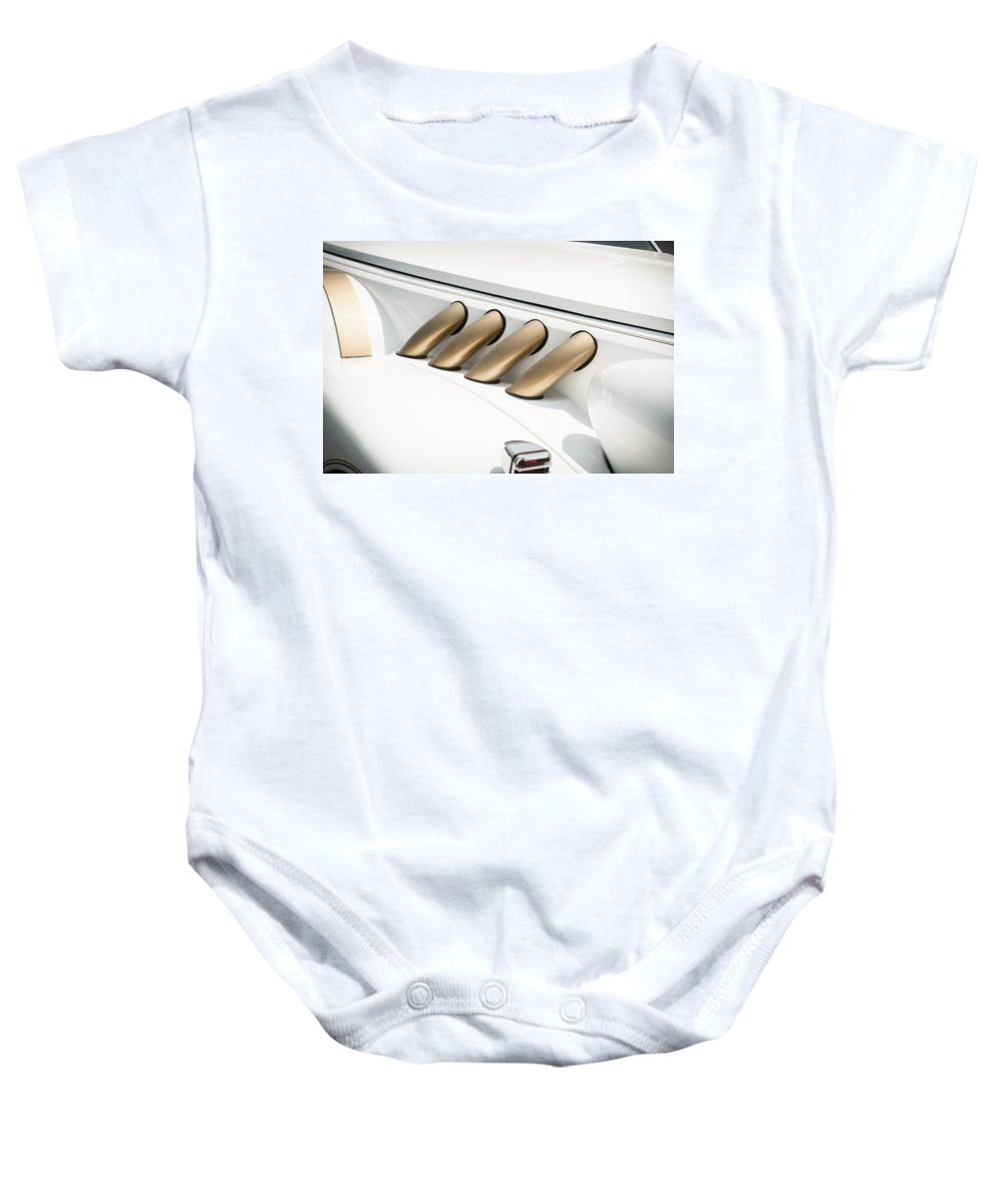 Automobile Baby Onesie featuring the photograph Pipes by Guy Whiteley