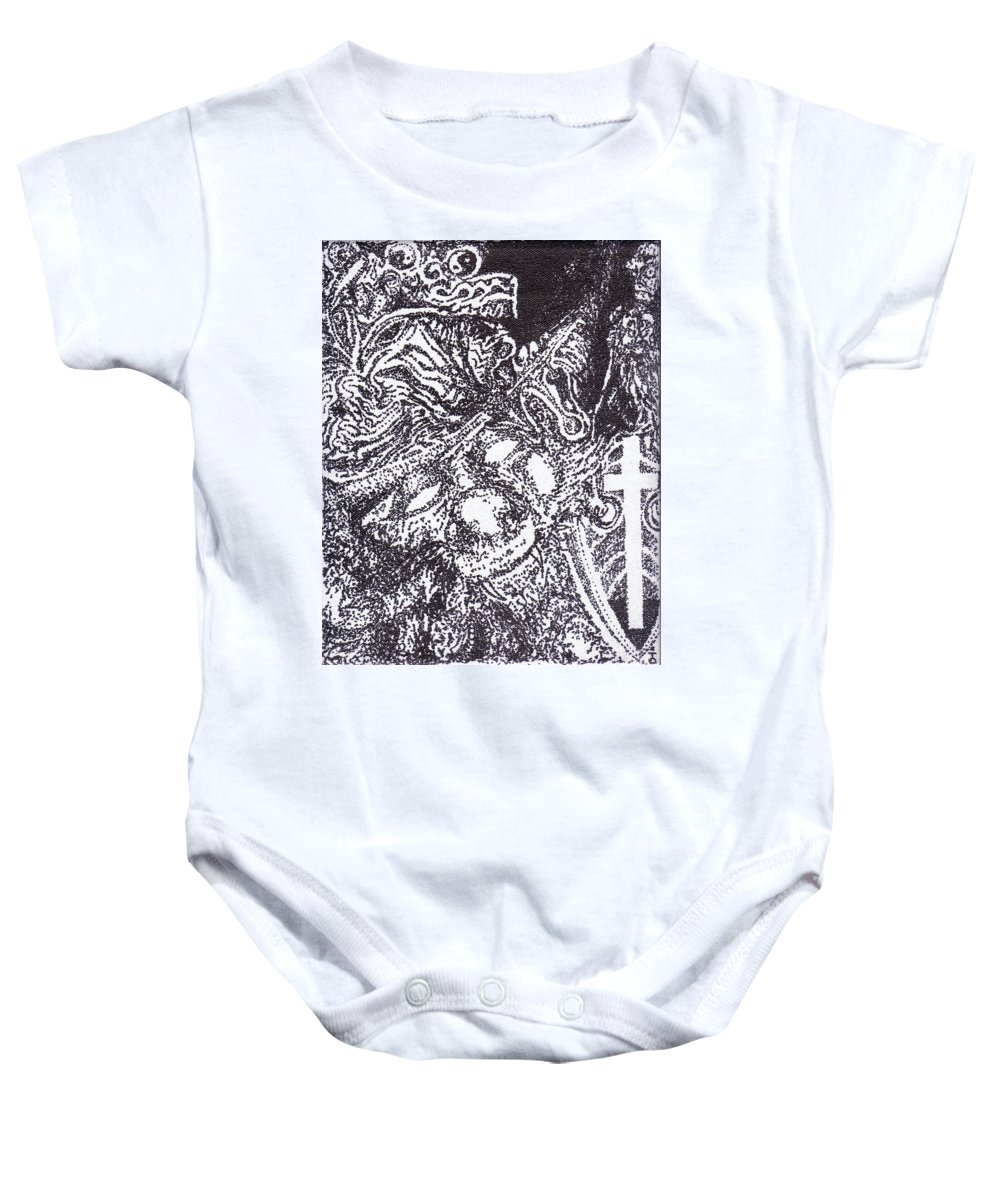 Stippling Baby Onesie featuring the painting Pirate Monkey Squid Clam by Charles Kabrich