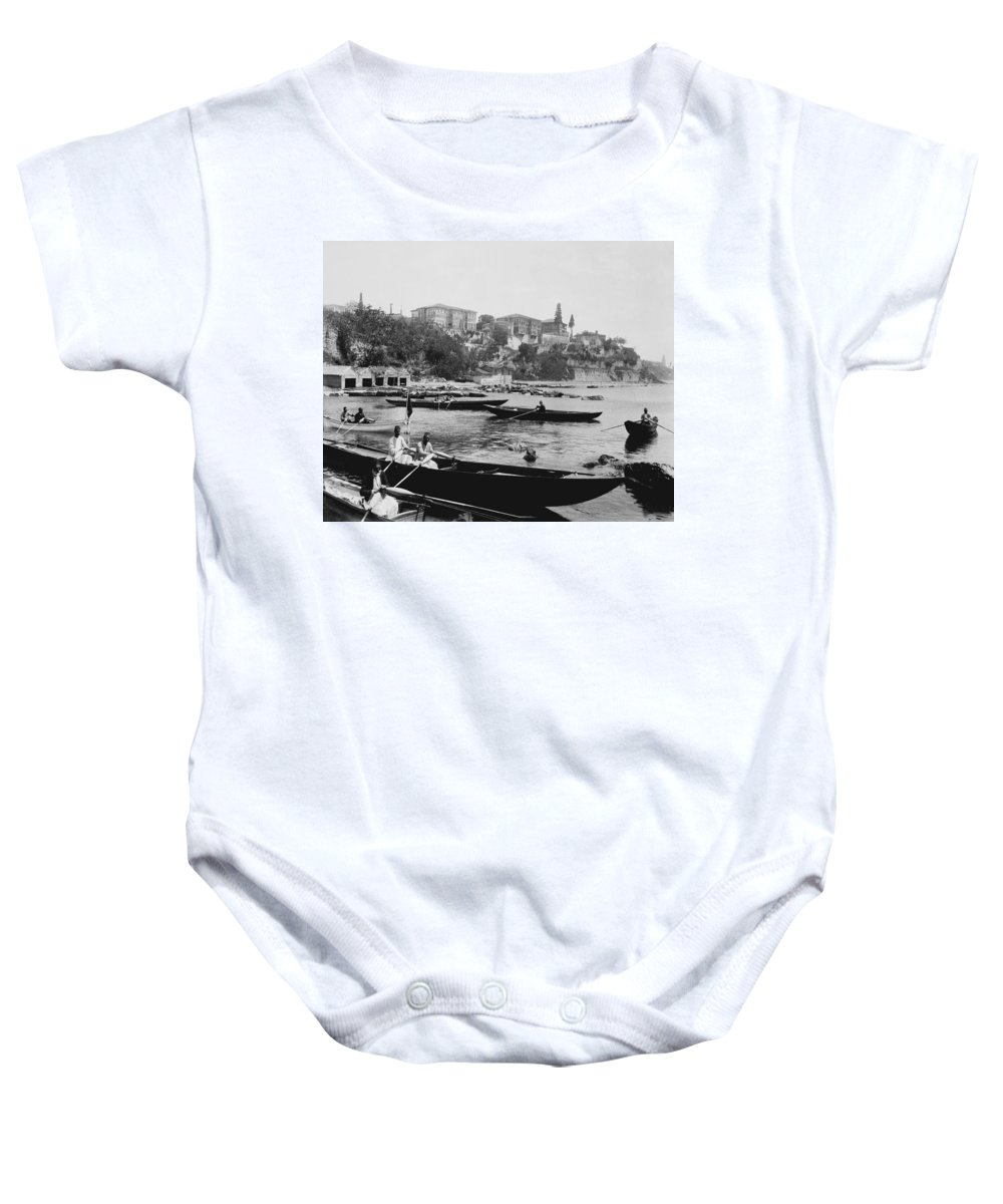 \port Of Salacak Baby Onesie featuring the photograph Port Of Salacak Uskudar - Turkey by International Images