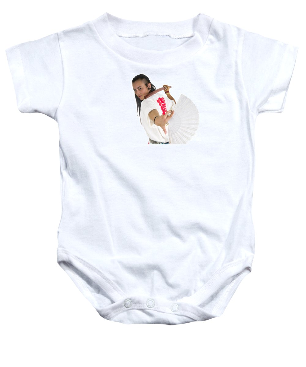 Accuracy Baby Onesie featuring the photograph Punk Teen Girl Wielding A Bokken by Ilan Rosen