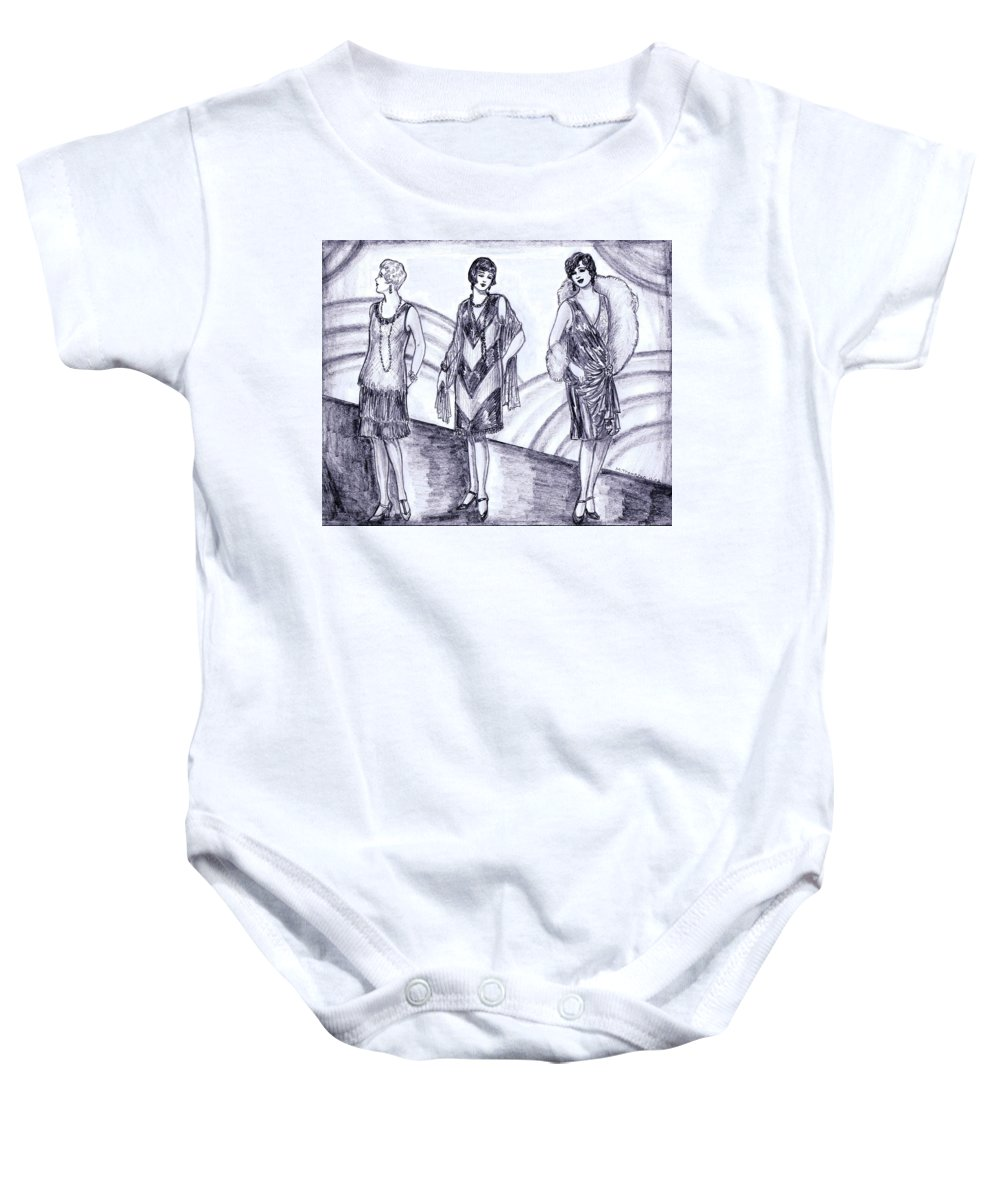 Nostalgia Baby Onesie featuring the drawing Rainbow 1920s Fashions by Mel Thompson