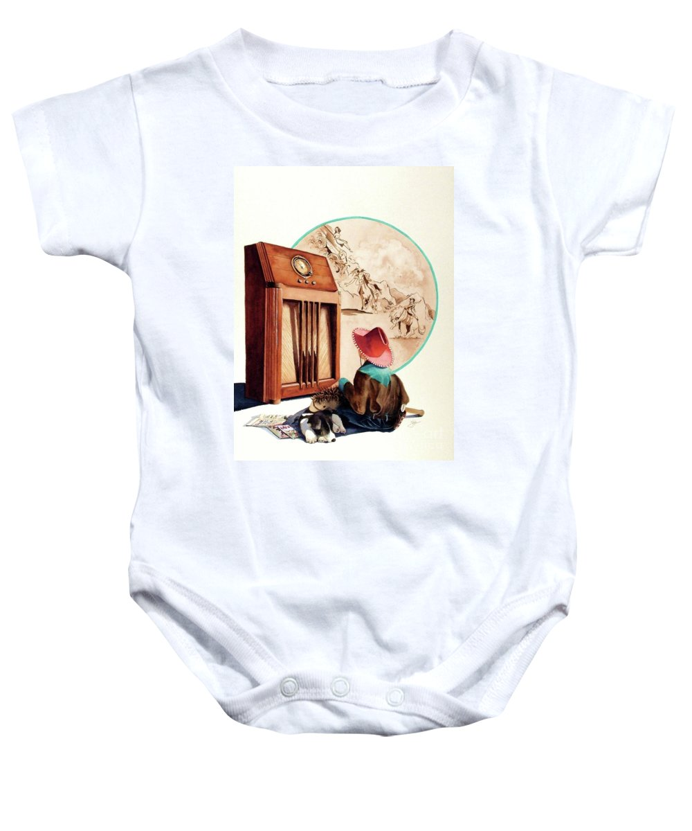 Radio Baby Onesie featuring the painting Raised On The Radio 1 by Greg and Linda Halom