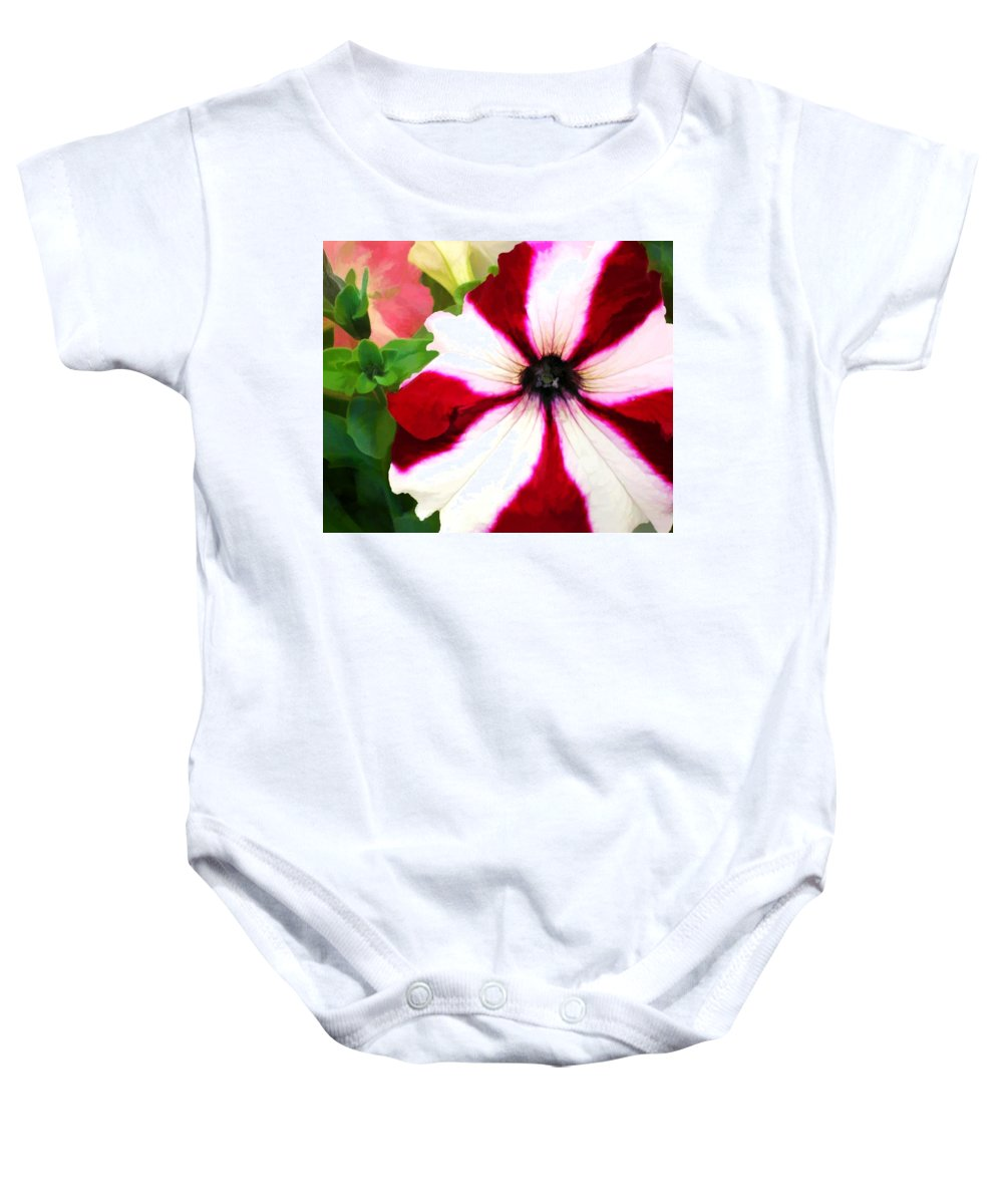 Petunia Petunias Red White Flower Flowers Garden Flora Floral Nature Natural Bloom Blooms Blossoms Blossom Bouquet Arrangement Colorful Plant Plants Botanical Botanic Blooming Gardens Gardening Tropical Annual Annuals Perennial Perennials Bulb Bulbs Painting Paintings Illustration Illustrations Digital Computer Baby Onesie featuring the painting Red And White Petunia by Elaine Plesser