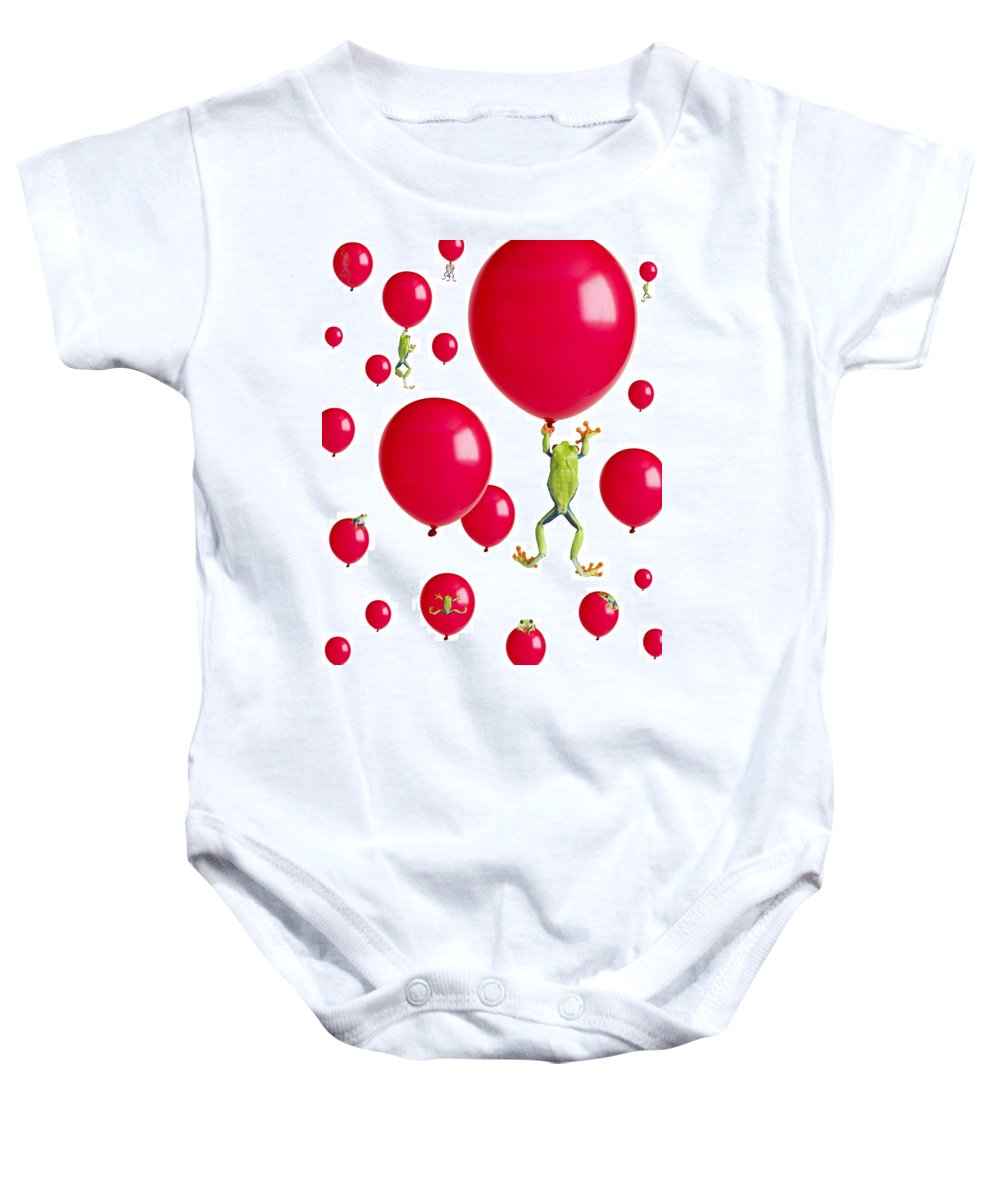Amphibian Baby Onesie featuring the photograph Red-eyed Treefrogs Floating On Red by Corey Hochachka