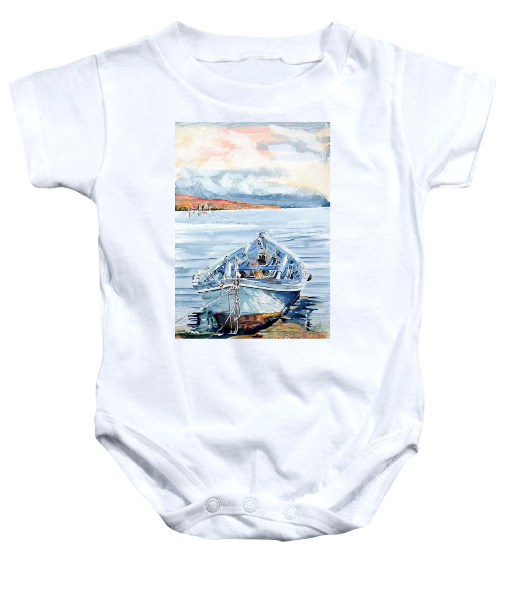 Boat Baby Onesie featuring the painting Remi In Barca by Giovanni Marco Sassu