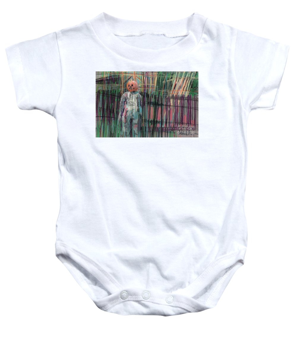 Scarecrow Baby Onesie featuring the painting Return Of Pumpkinhead Man by Donald Maier