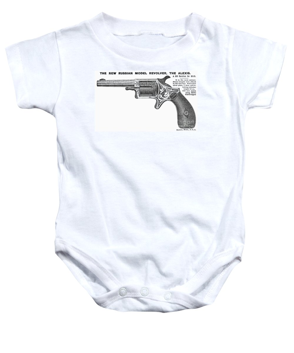 1878 Baby Onesie featuring the photograph Revolver Ad, 1878 by Granger