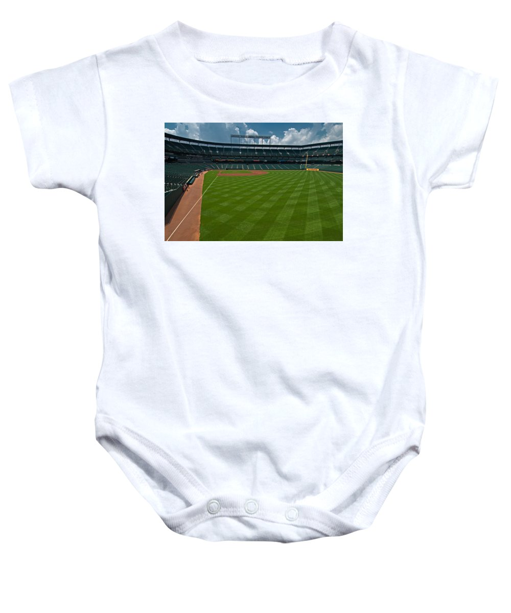 oriole Park Baby Onesie featuring the Right Field Of Oriole Park At Camden Yard by Paul Mangold