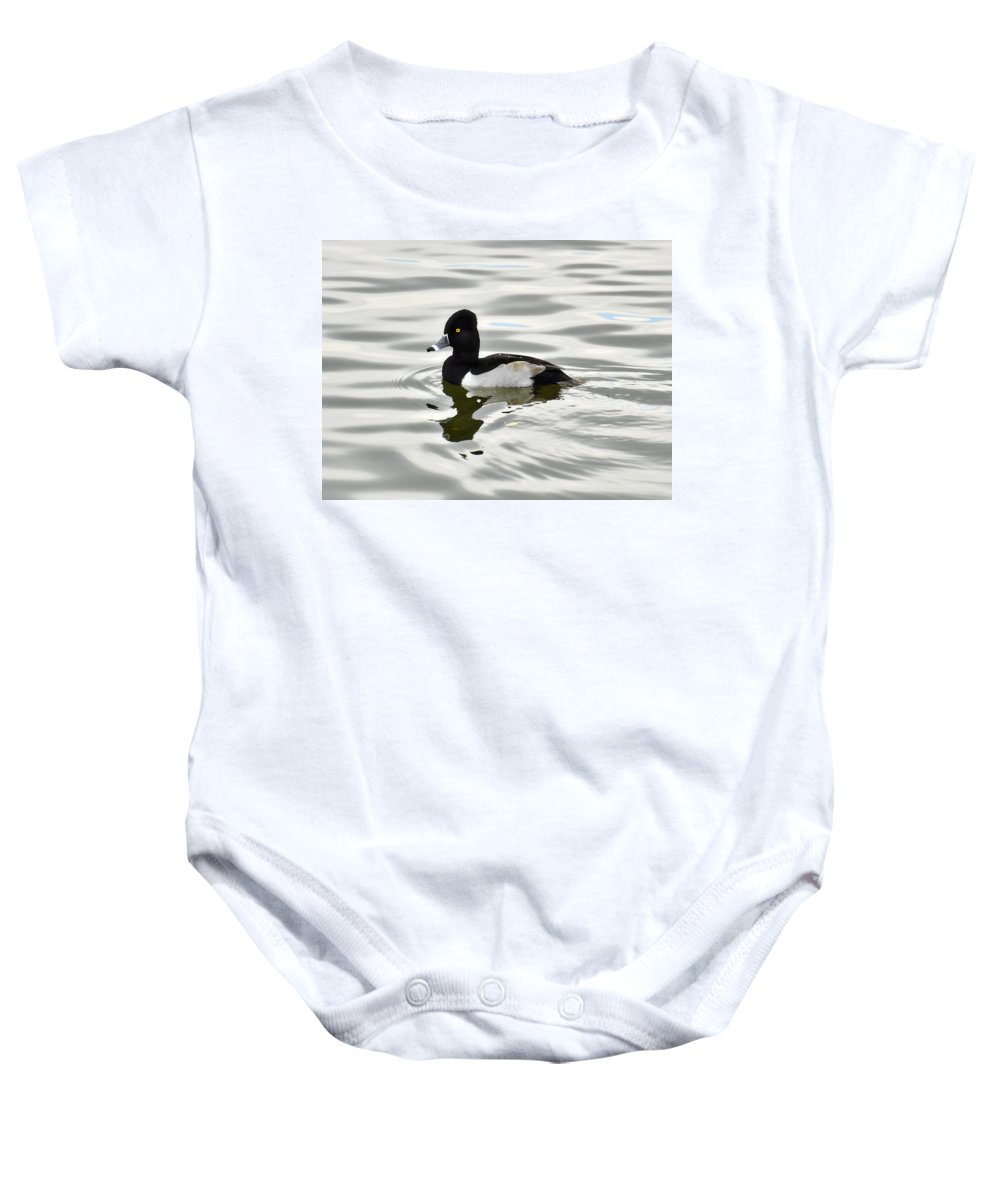 Ring Necked Duck Baby Onesie featuring the photograph Ring Necked Duck by Saija Lehtonen