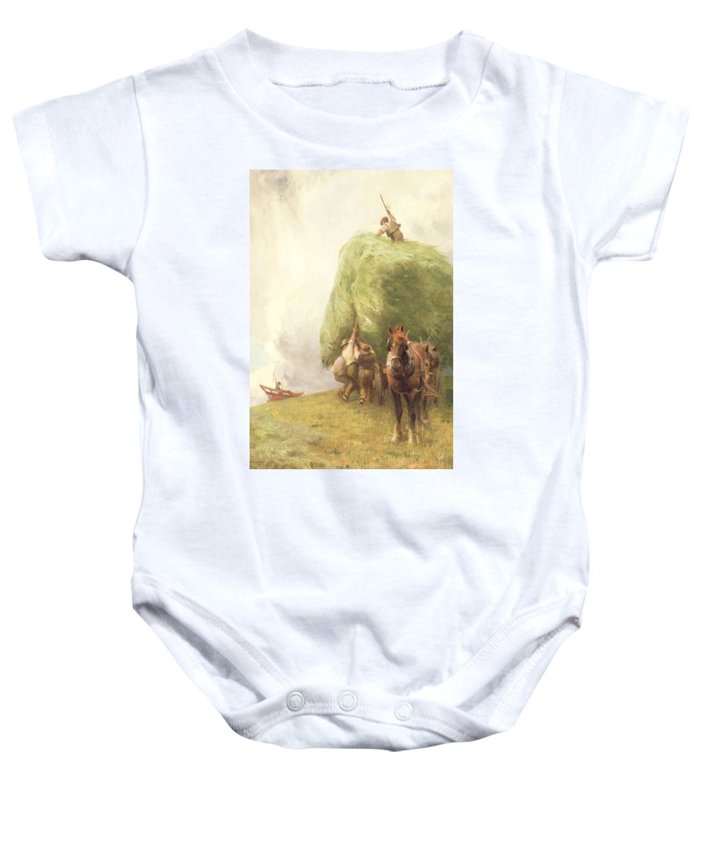 Agriculture; Haywain; Horse Baby Onesie featuring the painting Roping The Wagon by Henry H Sands