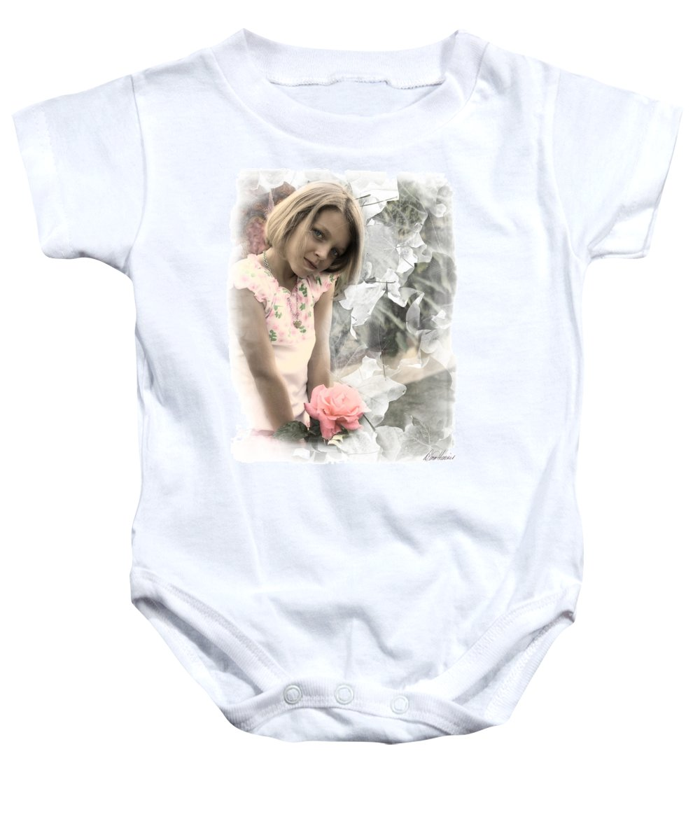 Faery Baby Onesie featuring the photograph Rose Faery by Diana Haronis