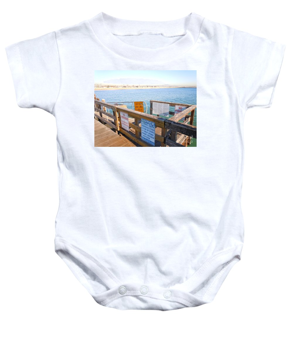 Beach Baby Onesie featuring the photograph Rules Of The Pier by Customikes Fun Photography and Film Aka K Mikael Wallin