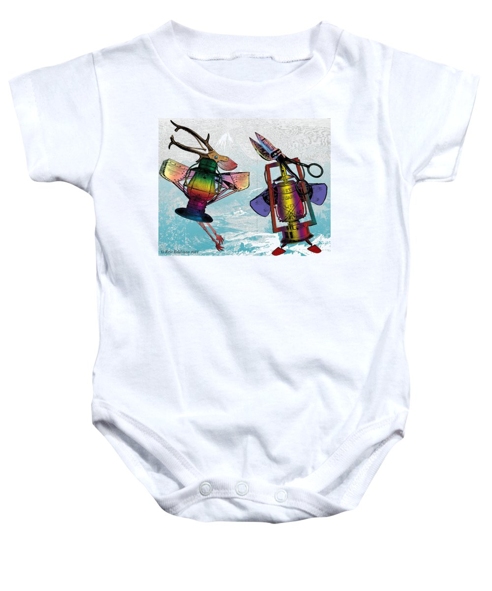 Baby Onesie featuring the digital art Ruling The Roost by Eric Edelman