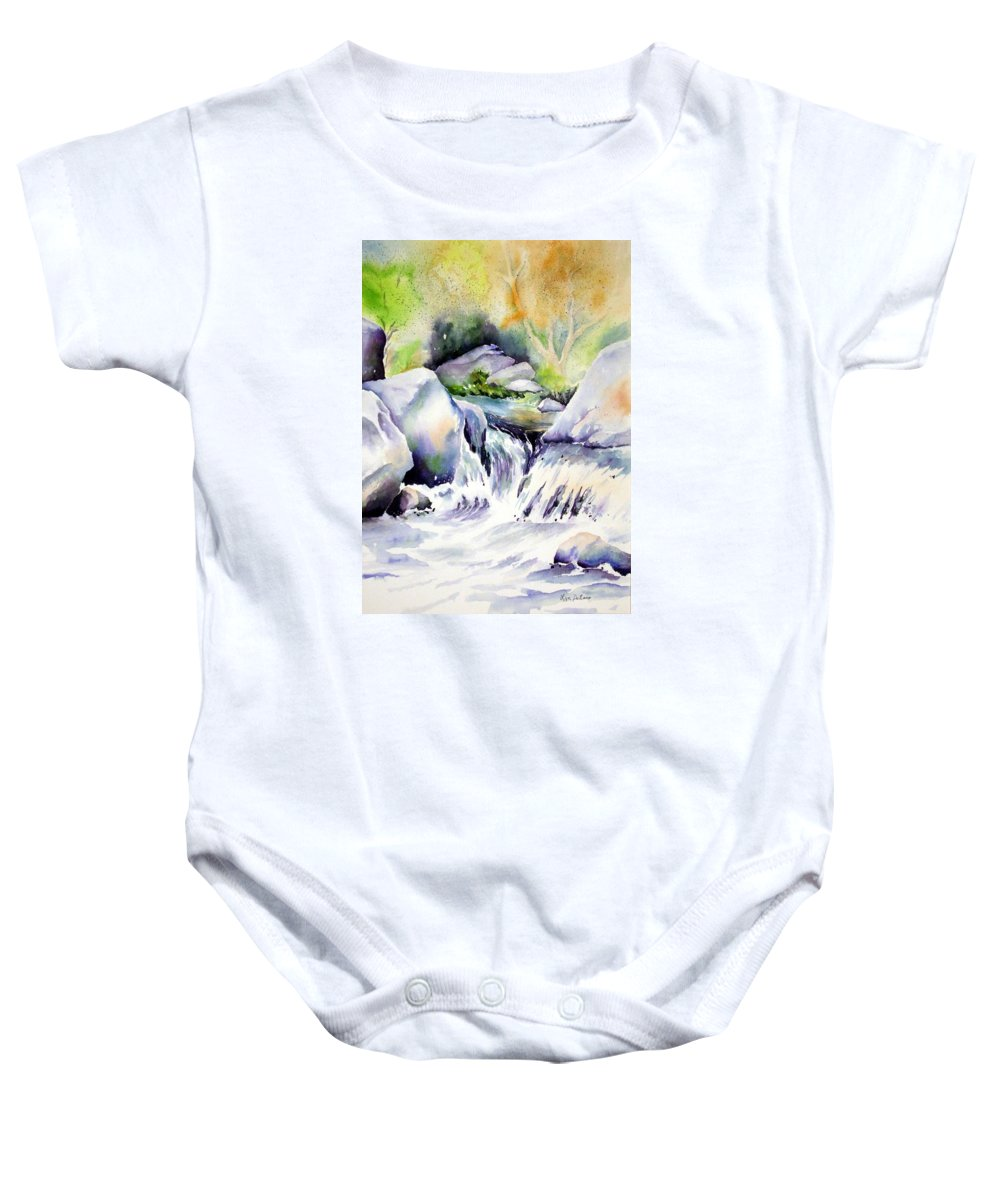 Water Baby Onesie featuring the painting Running Waters by Lyn DeLano