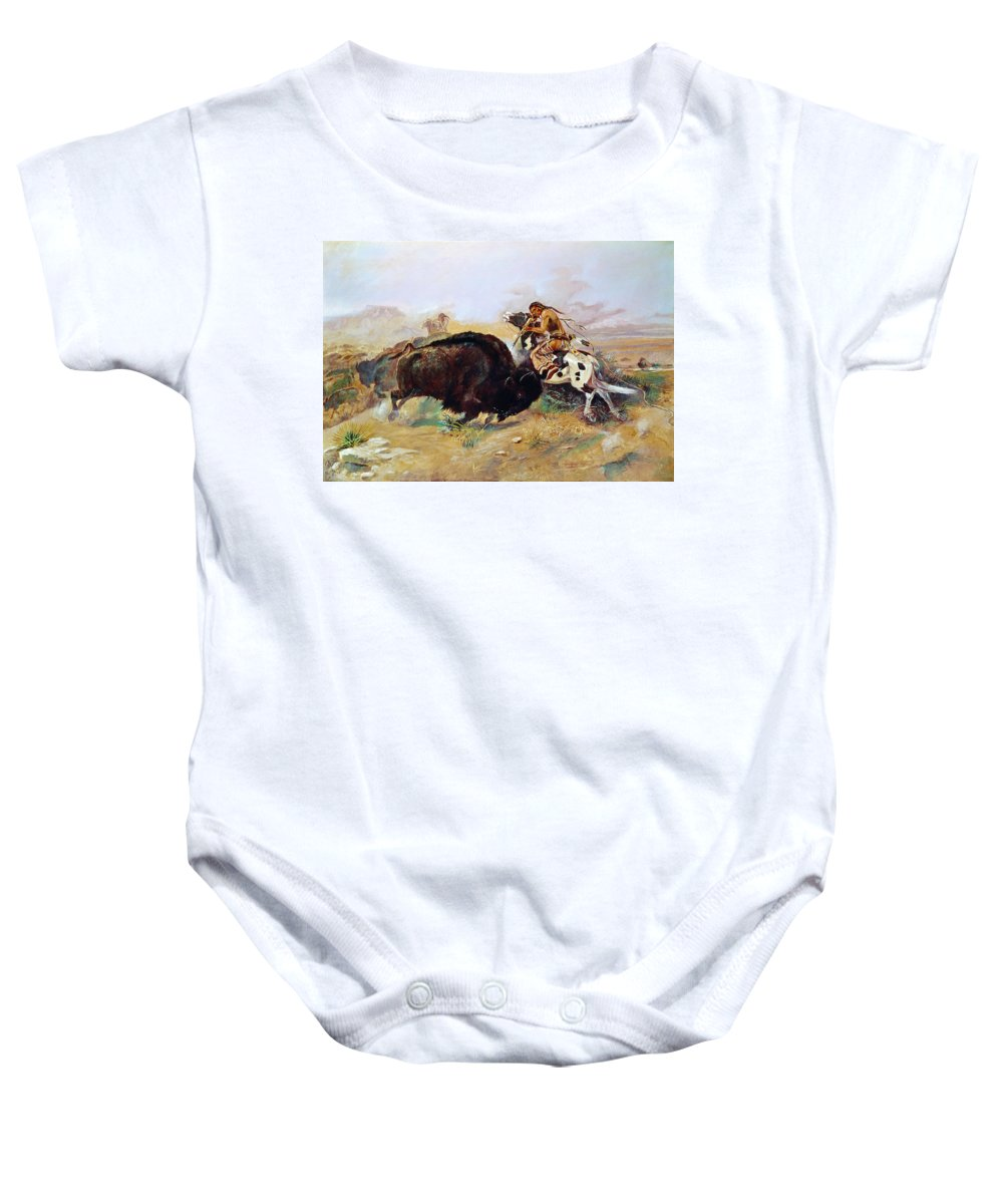 1891 Baby Onesie featuring the photograph Russell: Buffalo Hunt by Granger