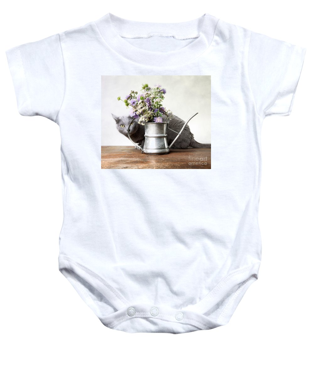 Cat Baby Onesie featuring the photograph Russian Blue 03 by Nailia Schwarz