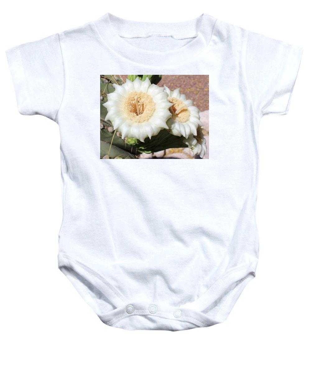 Saguaro Baby Onesie featuring the photograph Saguaro Cactus Flowers by Kume Bryant