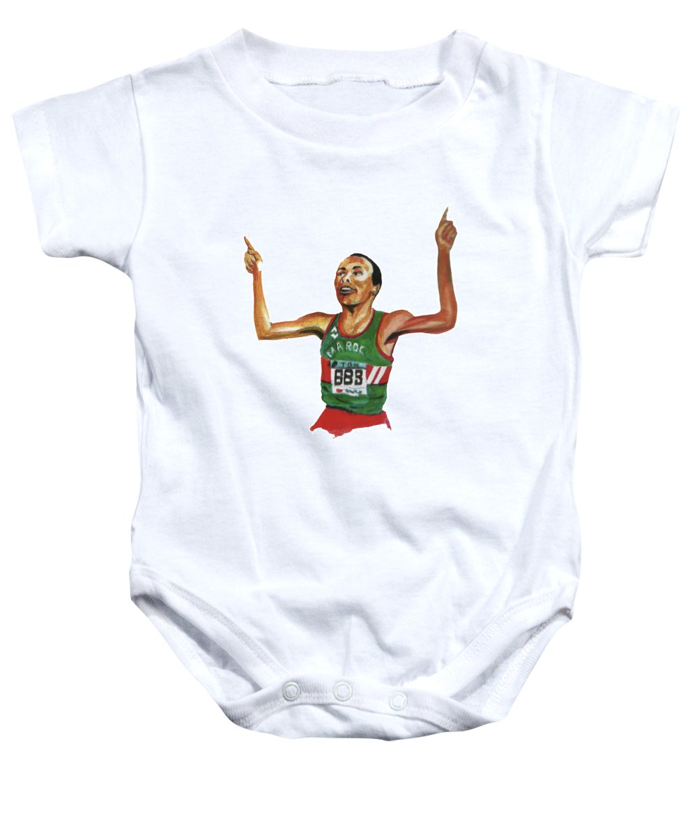 Portraits Baby Onesie featuring the painting Said Aouita by Emmanuel Baliyanga