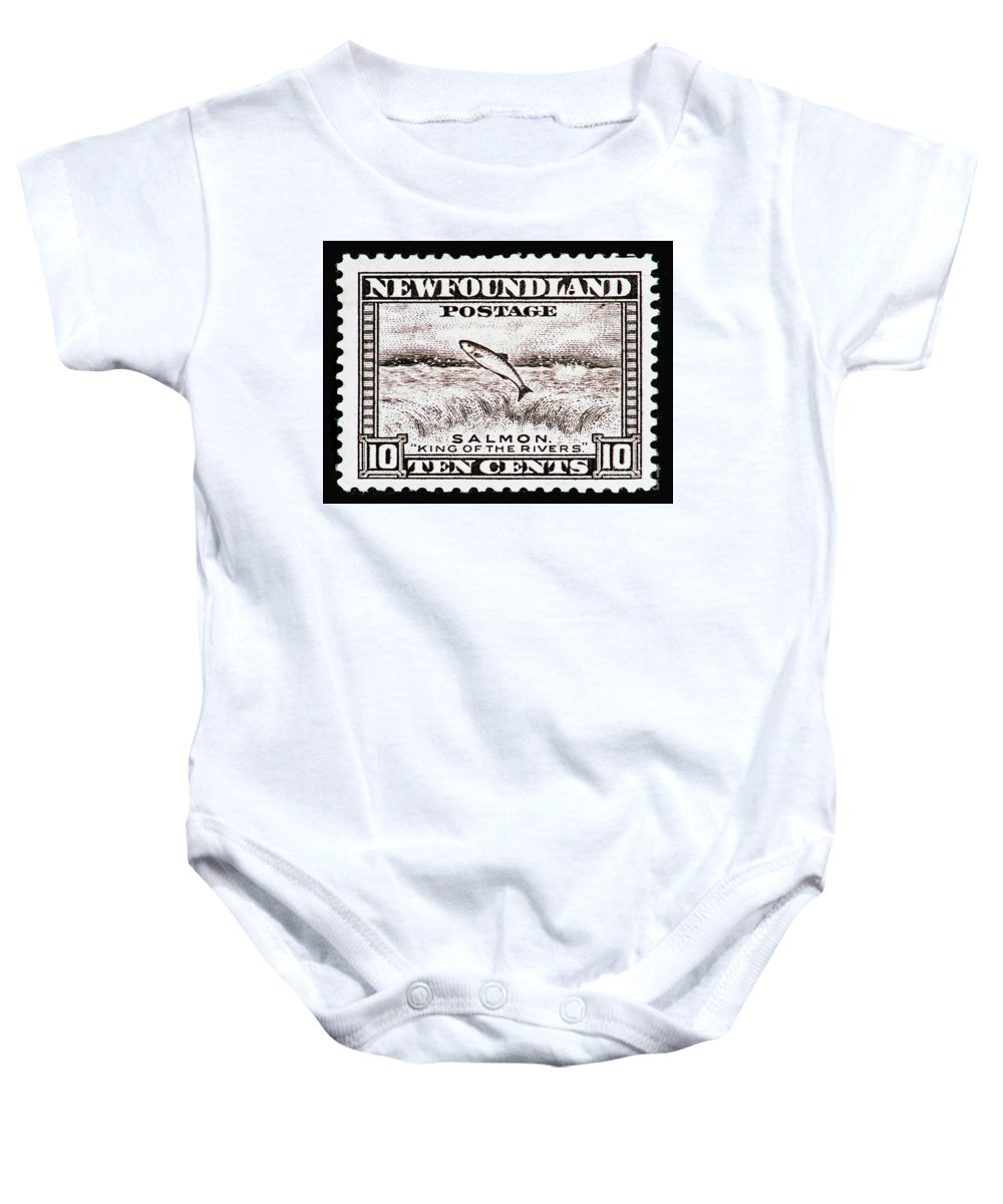 Postage Stamp Baby Onesie featuring the photograph Salmon King Of The Rivers by Andy Prendy