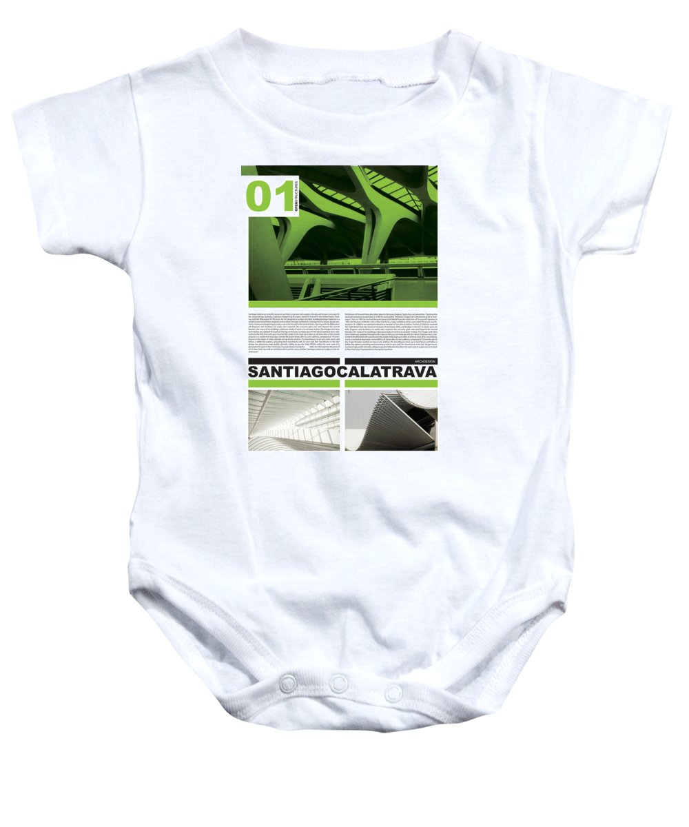 Santiago Baby Onesie featuring the digital art Santiago Calatrava Poster by Naxart Studio