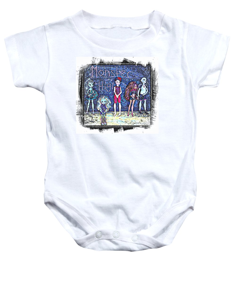 Monster High Baby Onesie featuring the digital art Sarah's Monster High Collection Sketch by Barbara Griffin