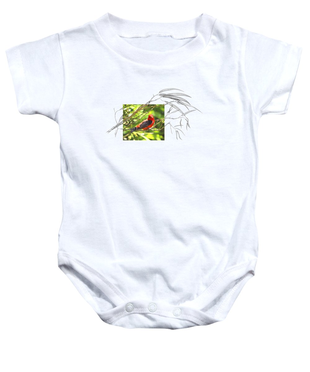 Scarlet Tanager Baby Onesie featuring the photograph Scarlet Tanager by Andrew McInnes