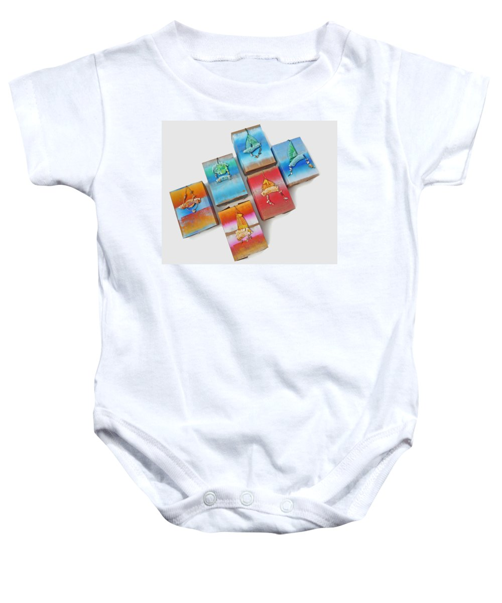 Sculpture Baby Onesie featuring the painting Sea Boxes by Charles Stuart