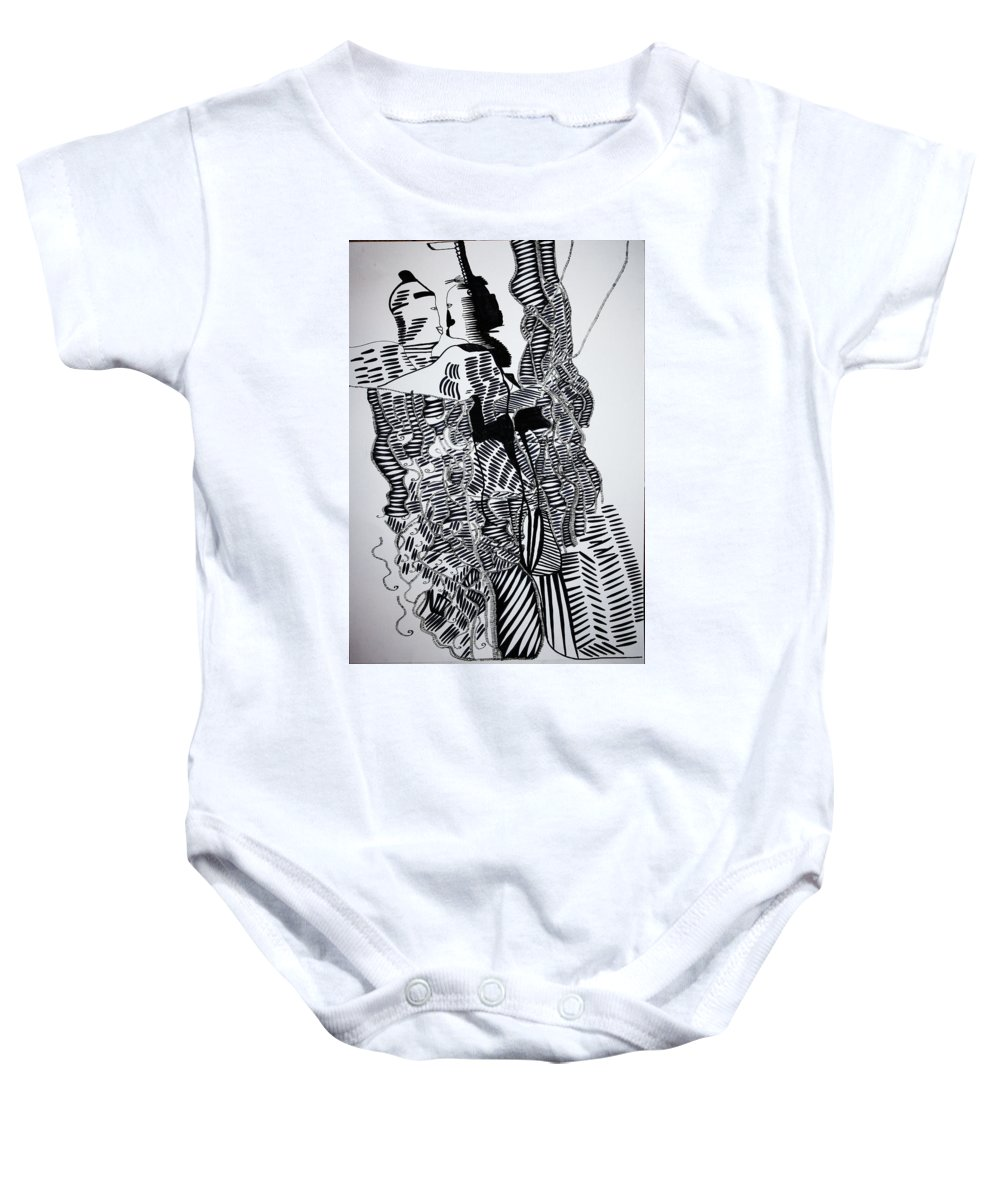 Jesus Baby Onesie featuring the drawing Secret Kiss by Gloria Ssali