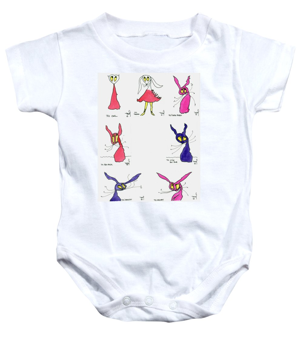 Tisart Baby Onesie featuring the painting Seven Cartoons by Tis Art